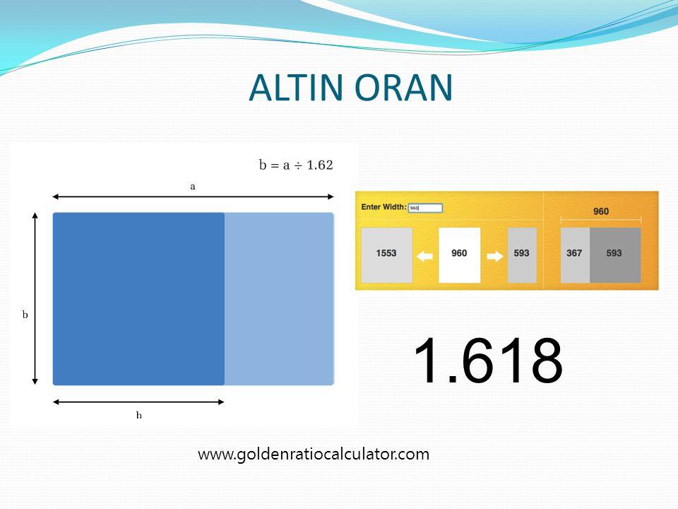 ALTIN ORAN 1.618 www.goldenratiocalculator.com