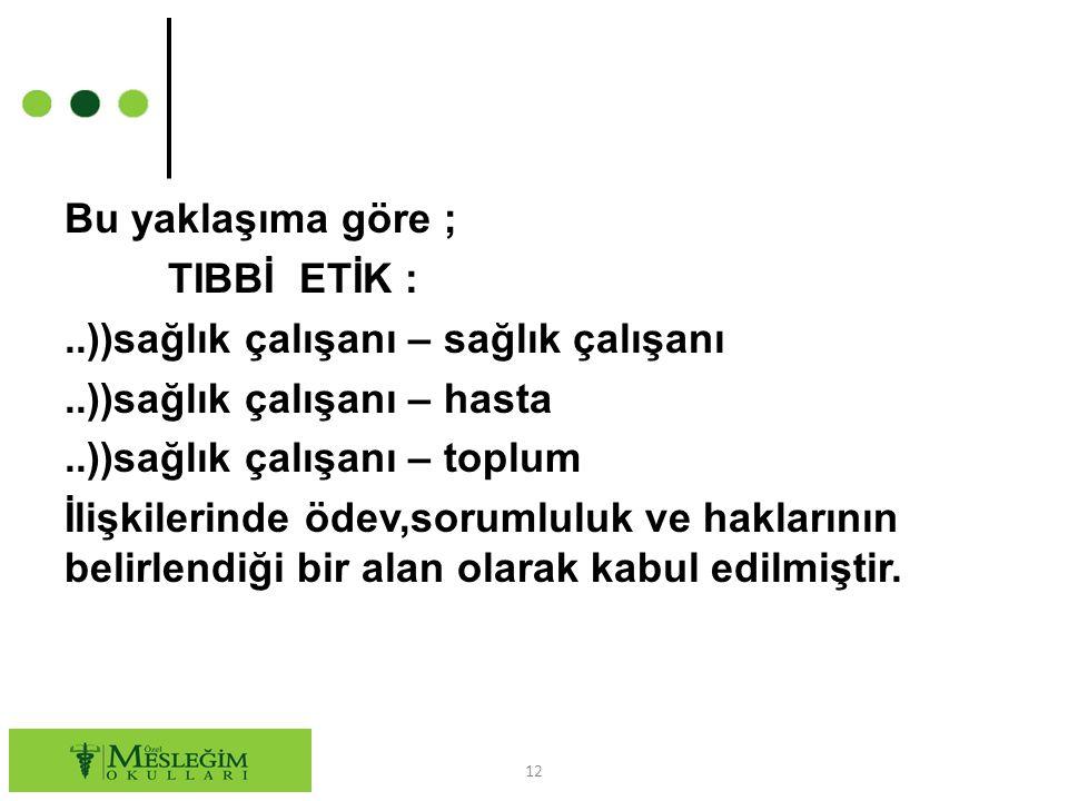 Bu yaklaşıma göre ; TIBBİ ETİK :. ))sağlık çalışanı – sağlık çalışanı