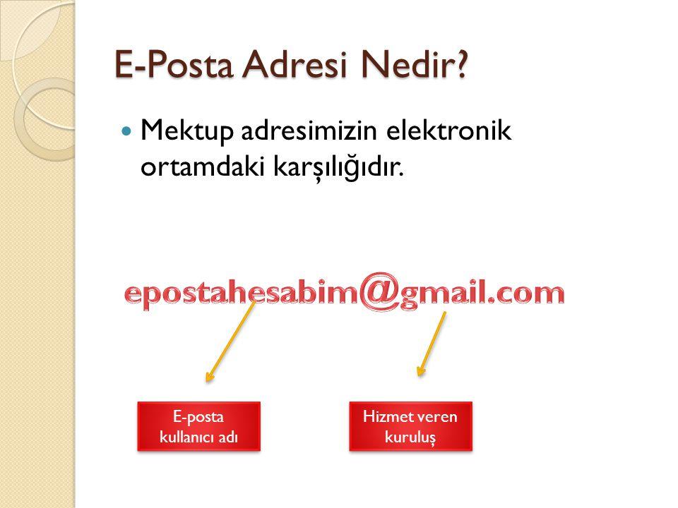 E-Posta Adresi Nedir epostahesabim@gmail.com
