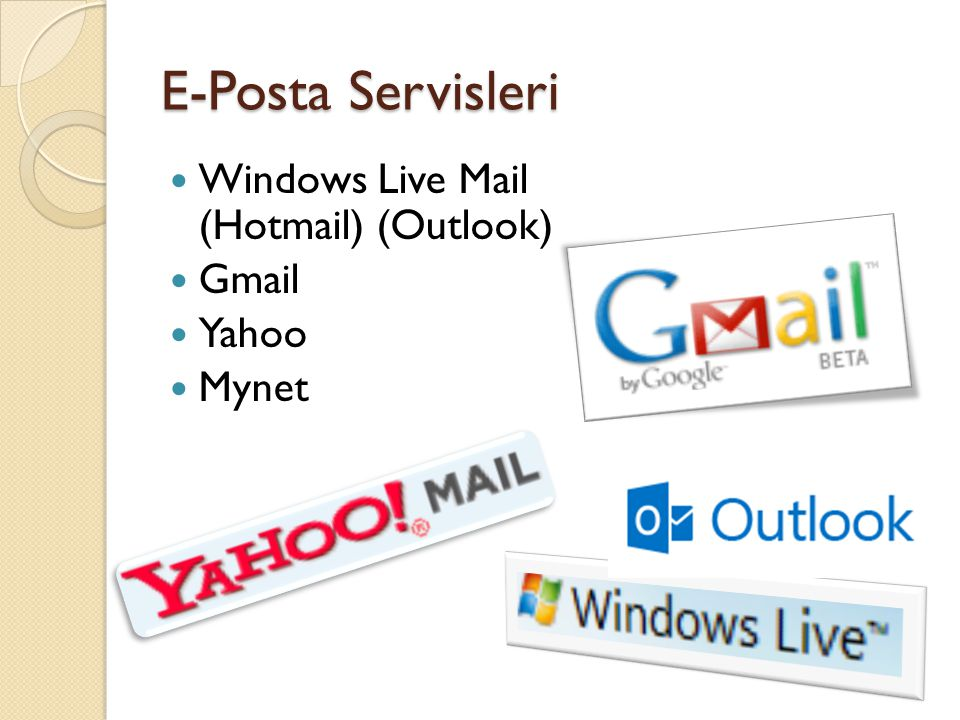 E-Posta Servisleri Windows Live Mail (Hotmail) (Outlook) Gmail Yahoo