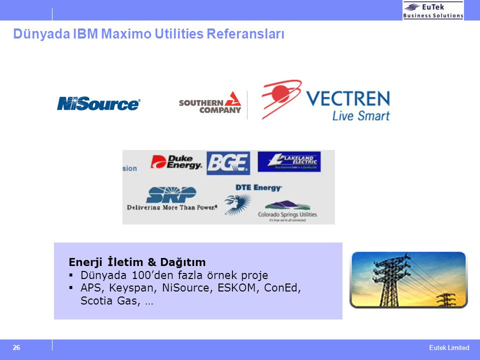 Dünyada IBM Maximo Utilities Referansları