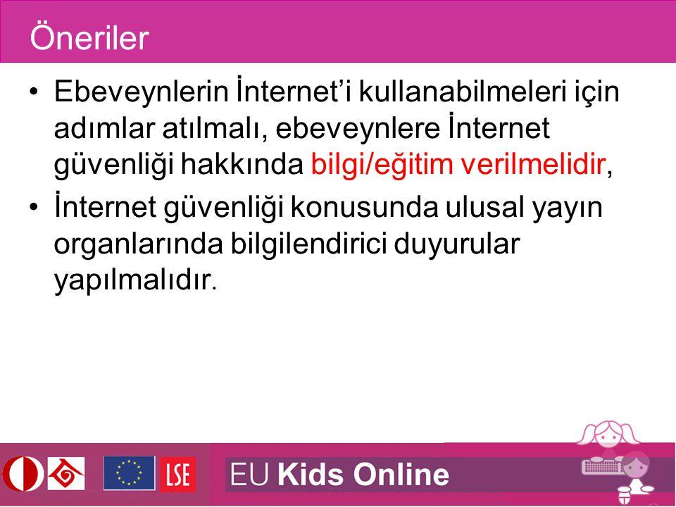 Öneriler Ebeveynlerin İnternet'i kullanabilmeleri için adımlar atılmalı, ebeveynlere İnternet güvenliği hakkında bilgi/eğitim verilmelidir,