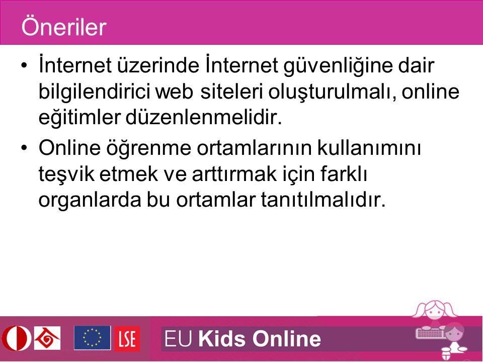 Öneriler İnternet üzerinde İnternet güvenliğine dair bilgilendirici web siteleri oluşturulmalı, online eğitimler düzenlenmelidir.