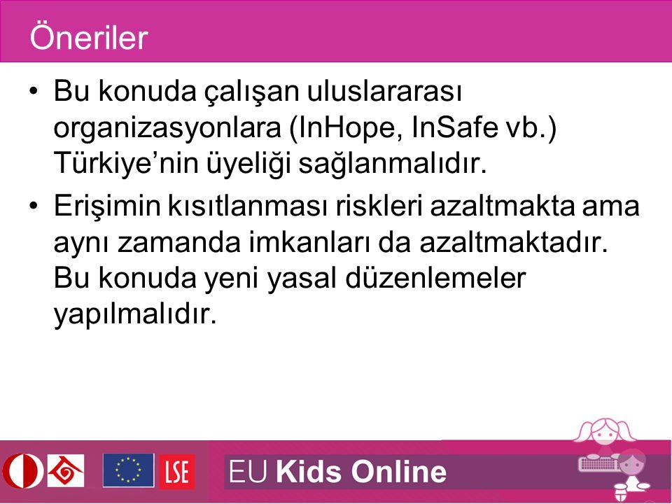 Öneriler Bu konuda çalışan uluslararası organizasyonlara (InHope, InSafe vb.) Türkiye'nin üyeliği sağlanmalıdır.