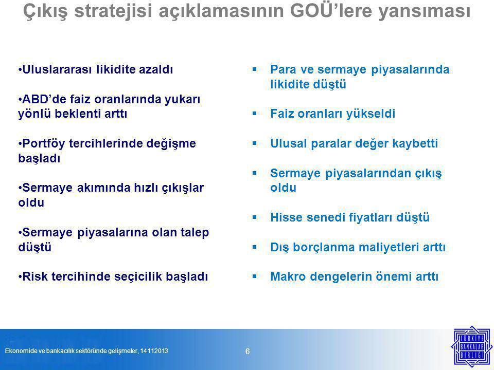 Çıkış stratejisi açıklamasının GOÜ'lere yansıması