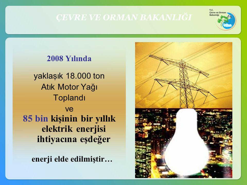 85 bin kişinin bir yıllık elektrik enerjisi ihtiyacına eşdeğer