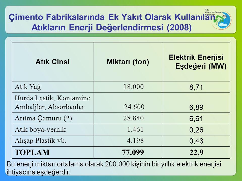 Elektrik Enerjisi Eşdeğeri (MW)