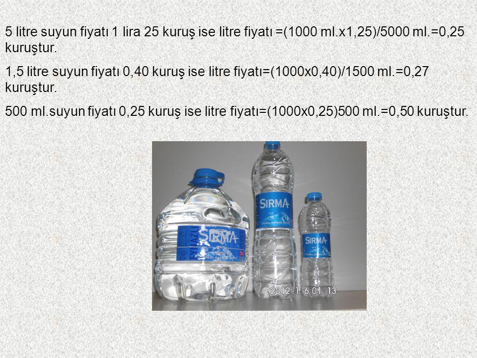 5 litre suyun fiyatı 1 lira 25 kuruş ise litre fiyatı =(1000 ml