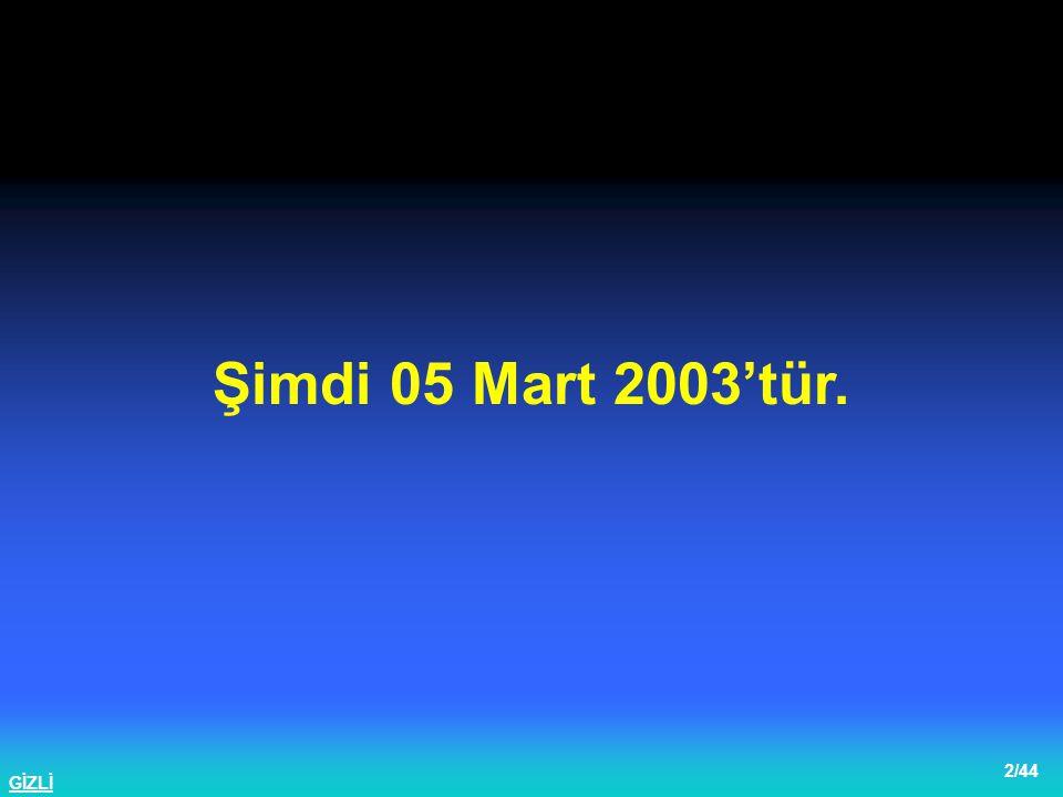 Şimdi 05 Mart 2003'tür.