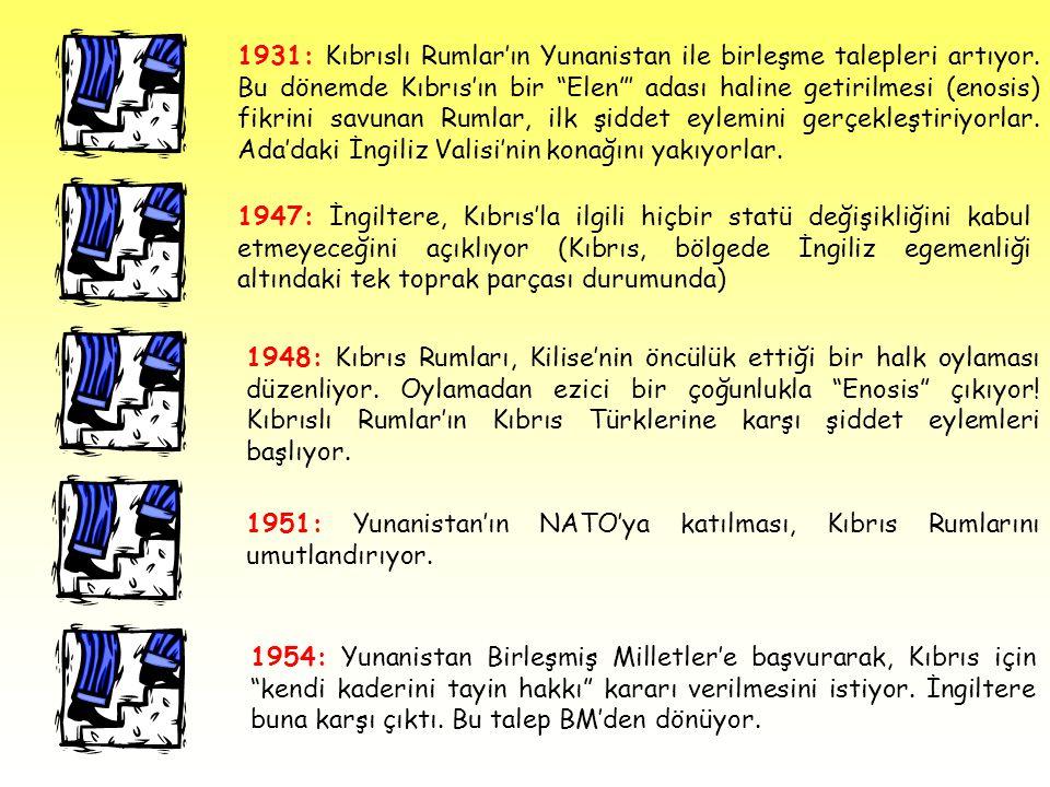 1931: Kıbrıslı Rumlar'ın Yunanistan ile birleşme talepleri artıyor