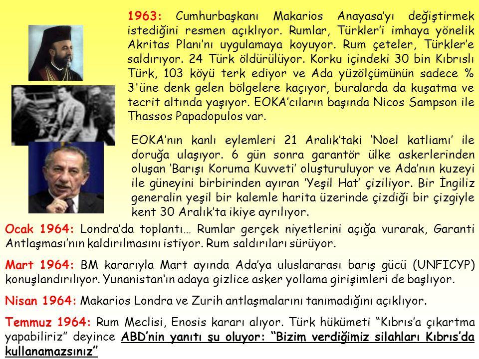 1963: Cumhurbaşkanı Makarios Anayasa'yı değiştirmek istediğini resmen açıklıyor. Rumlar, Türkler'i imhaya yönelik Akritas Planı'nı uygulamaya koyuyor. Rum çeteler, Türkler'e saldırıyor. 24 Türk öldürülüyor. Korku içindeki 30 bin Kıbrıslı Türk, 103 köyü terk ediyor ve Ada yüzölçümünün sadece % 3 üne denk gelen bölgelere kaçıyor, buralarda da kuşatma ve tecrit altında yaşıyor. EOKA'cıların başında Nicos Sampson ile Thassos Papadopulos var.