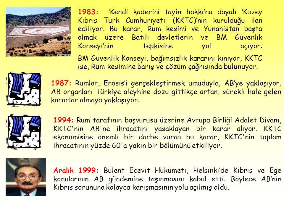 1983: 'Kendi kaderini tayin hakkı'na dayalı 'Kuzey Kıbrıs Türk Cumhuriyeti' (KKTC)'nin kurulduğu ilan ediliyor. Bu karar, Rum kesimi ve Yunanistan başta olmak üzere Batılı devletlerin ve BM Güvenlik Konseyi'nin tepkisine yol açıyor. BM Güvenlik Konseyi, bağımsızlık kararını kınıyor, KKTC ise, Rum kesimine barış ve çözüm çağrısında bulunuyor.