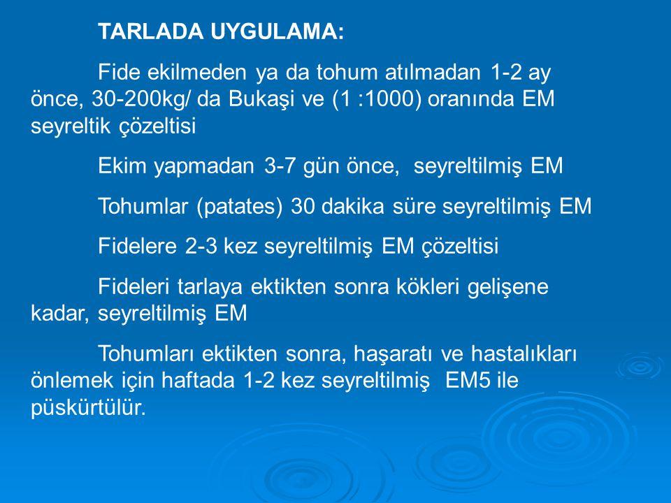 TARLADA UYGULAMA: Fide ekilmeden ya da tohum atılmadan 1-2 ay önce, 30-200kg/ da Bukaşi ve (1 :1000) oranında EM seyreltik çözeltisi.