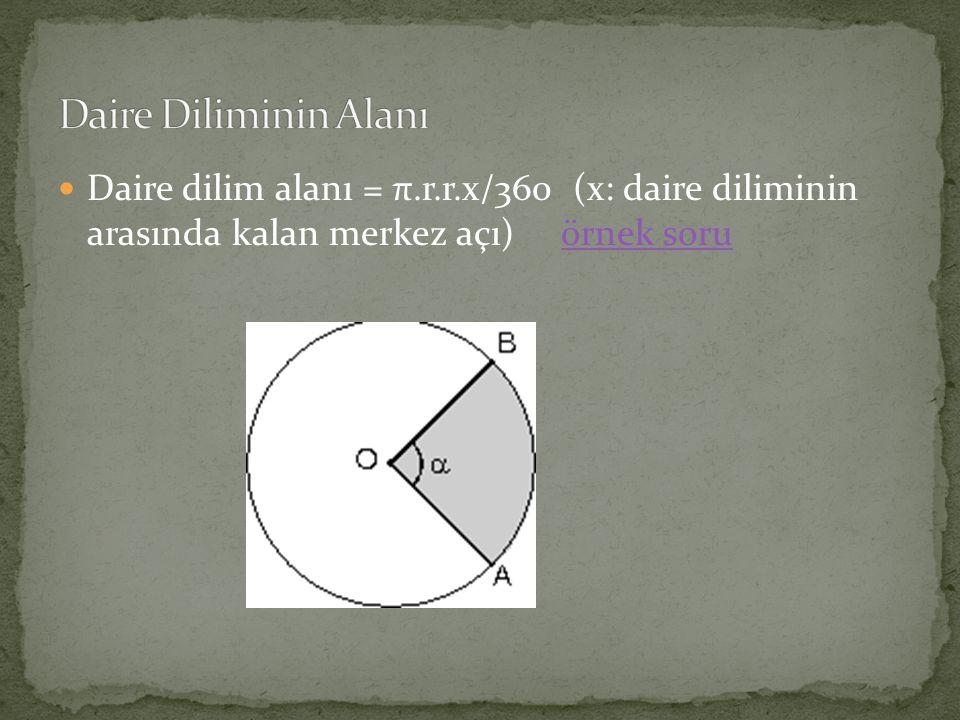 Daire Diliminin Alanı Daire dilim alanı = π.r.r.x/360 (x: daire diliminin arasında kalan merkez açı) örnek soru.