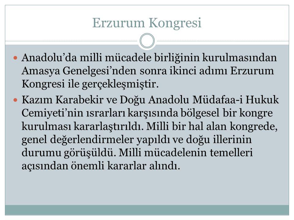 Erzurum Kongresi Anadolu'da milli mücadele birliğinin kurulmasından Amasya Genelgesi'nden sonra ikinci adımı Erzurum Kongresi ile gerçekleşmiştir.
