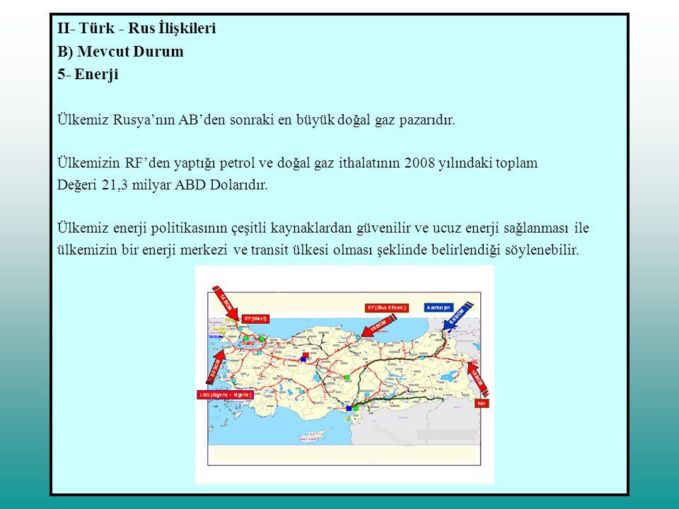 II- Türk - Rus İlişkileri B) Mevcut Durum 5- Enerji