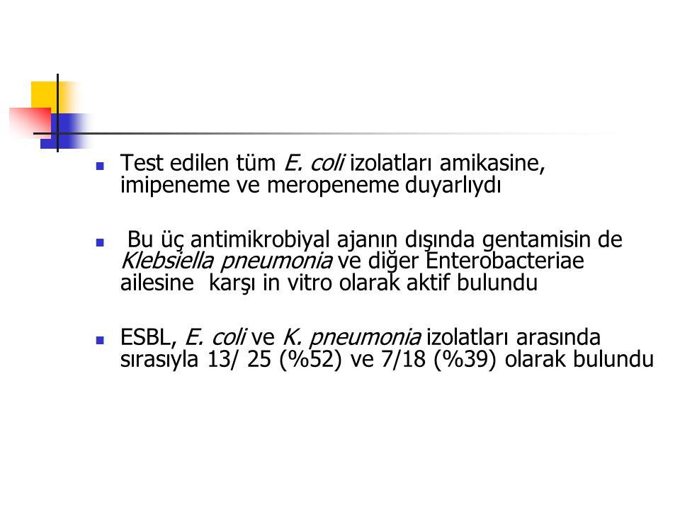 Test edilen tüm E. coli izolatları amikasine, imipeneme ve meropeneme duyarlıydı