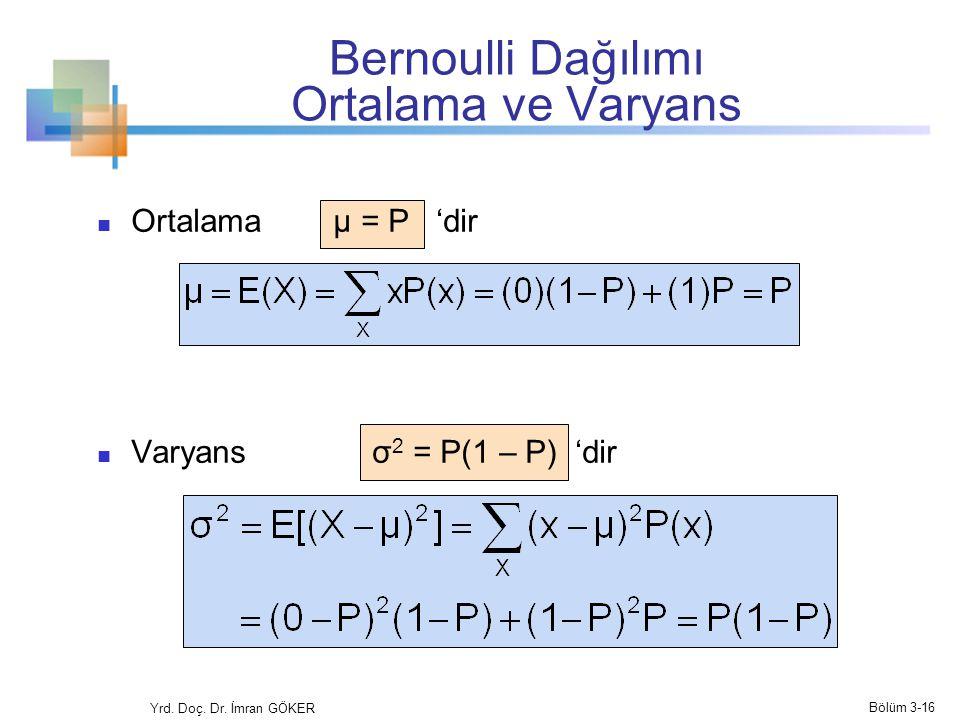 Bernoulli Dağılımı Ortalama ve Varyans