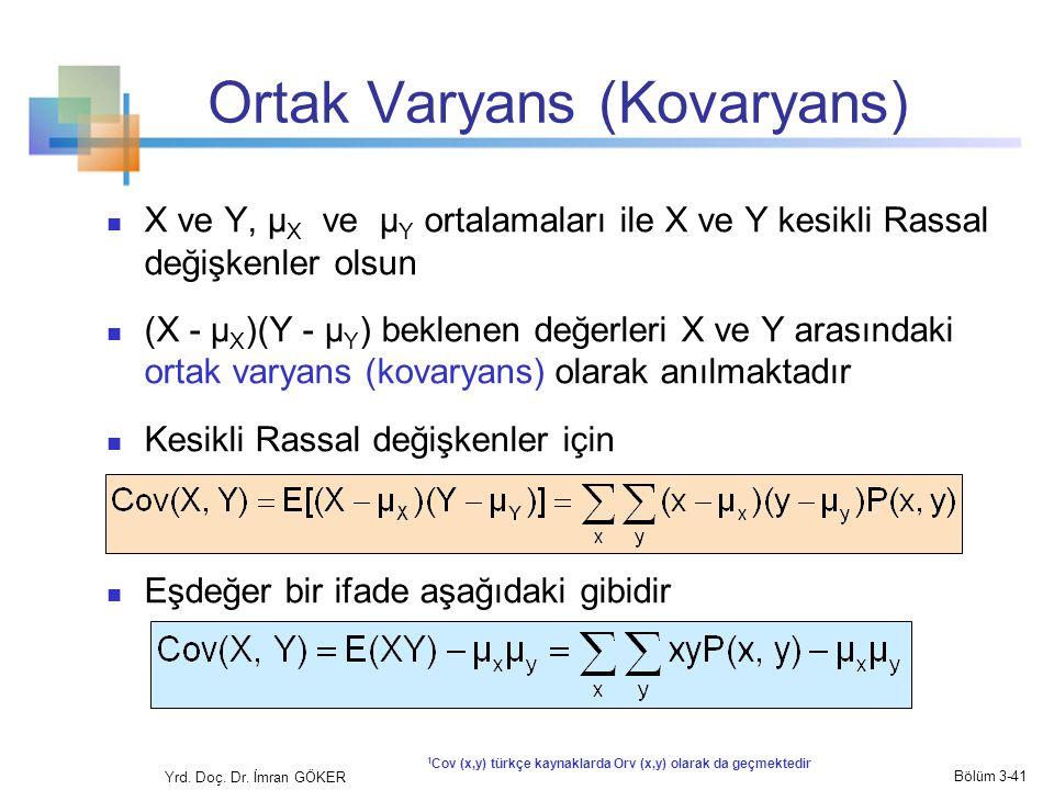 Ortak Varyans (Kovaryans)