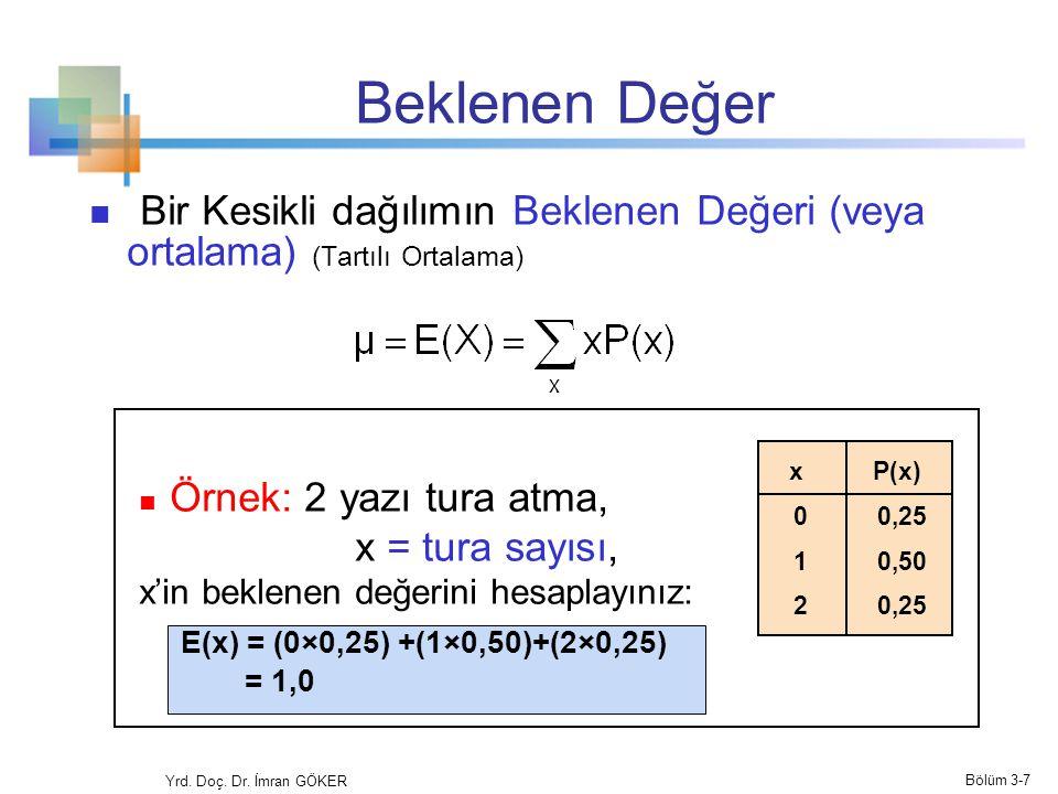 Beklenen Değer Bir Kesikli dağılımın Beklenen Değeri (veya ortalama) (Tartılı Ortalama) Örnek: 2 yazı tura atma,