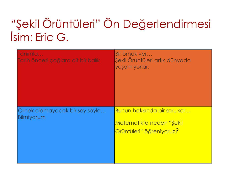 Şekil Örüntüleri Ön Değerlendirmesi İsim: Eric G.