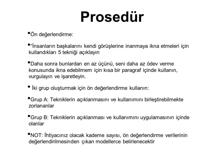 Prosedür Ön değerlendirme: