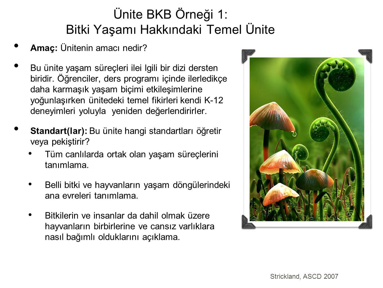 Ünite BKB Örneği 1: Bitki Yaşamı Hakkındaki Temel Ünite