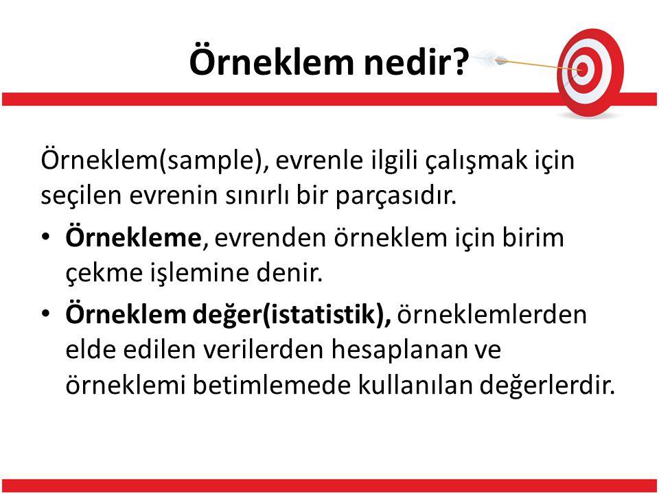 Örneklem nedir Örneklem(sample), evrenle ilgili çalışmak için seçilen evrenin sınırlı bir parçasıdır.