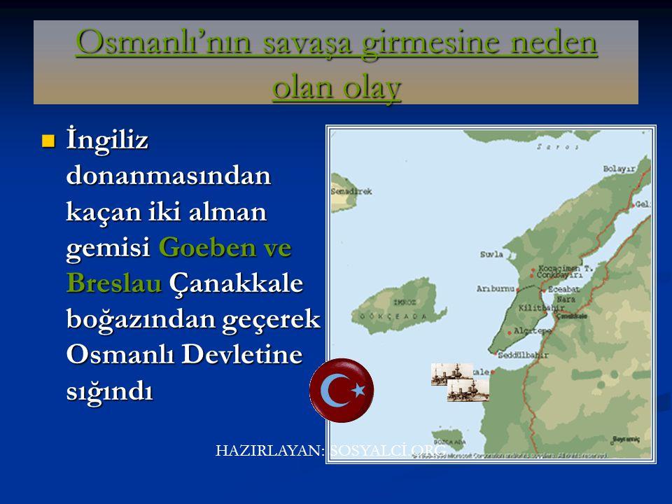 Osmanlı'nın savaşa girmesine neden olan olay