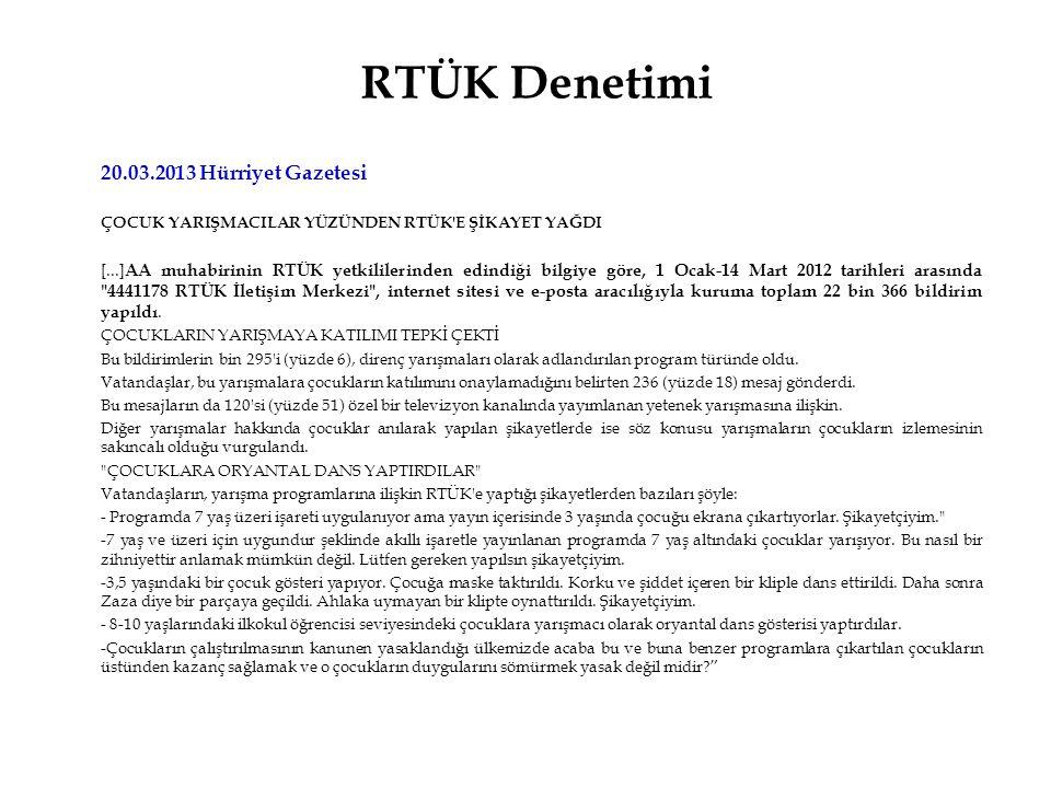 RTÜK Denetimi 20.03.2013 Hürriyet Gazetesi