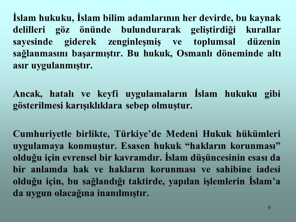 İslam hukuku, İslam bilim adamlarının her devirde, bu kaynak delilleri göz önünde bulundurarak geliştirdiği kurallar sayesinde giderek zenginleşmiş ve toplumsal düzenin sağlanmasını başarmıştır. Bu hukuk, Osmanlı döneminde altı asır uygulanmıştır.