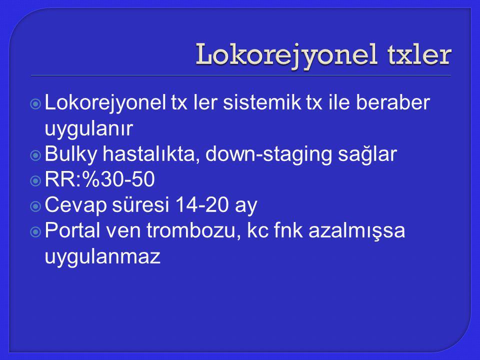 Lokorejyonel txler Lokorejyonel tx ler sistemik tx ile beraber uygulanır. Bulky hastalıkta, down-staging sağlar.