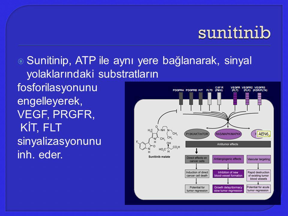 sunitinib Sunitinip, ATP ile aynı yere bağlanarak, sinyal yolaklarındaki substratların. fosforilasyonunu.