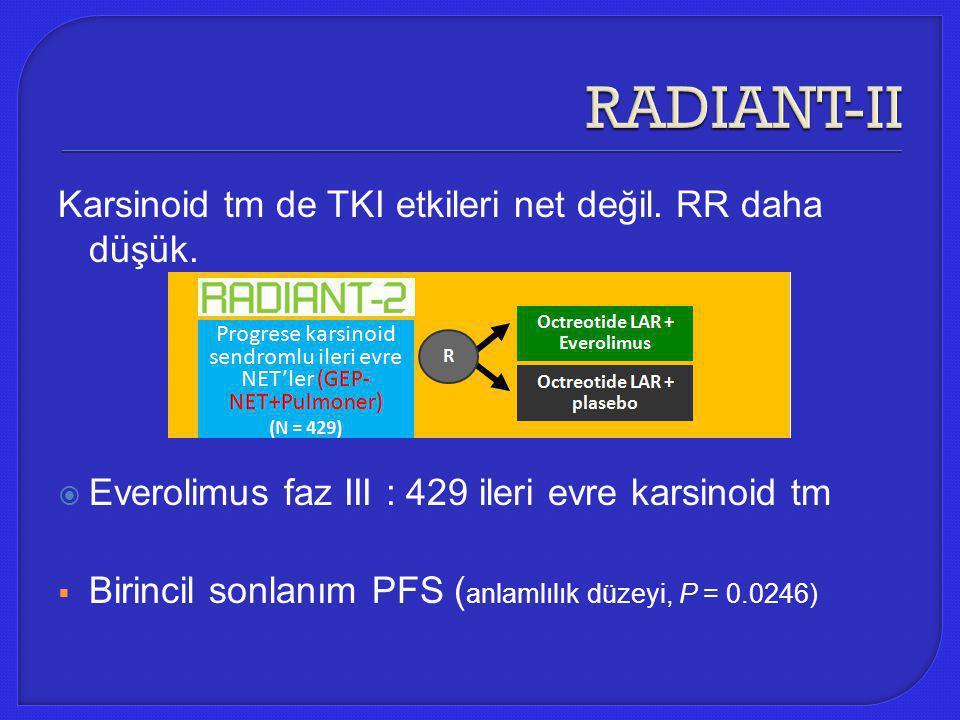 RADIANT-II Karsinoid tm de TKI etkileri net değil. RR daha düşük.