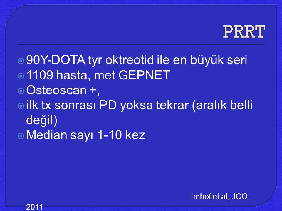 PRRT 90Y-DOTA tyr oktreotid ile en büyük seri 1109 hasta, met GEPNET