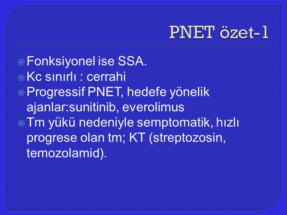 PNET özet-1 Fonksiyonel ise SSA. Kc sınırlı : cerrahi