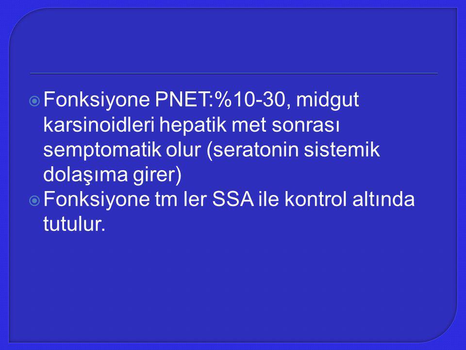 Fonksiyone PNET:%10-30, midgut karsinoidleri hepatik met sonrası semptomatik olur (seratonin sistemik dolaşıma girer)
