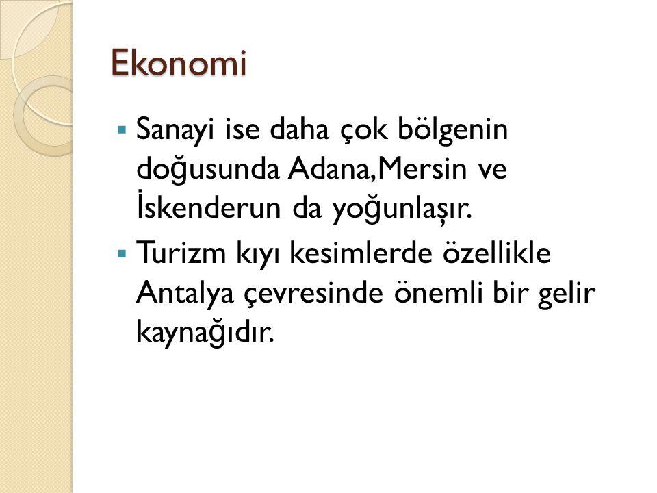 Ekonomi Sanayi ise daha çok bölgenin doğusunda Adana,Mersin ve İskenderun da yoğunlaşır.