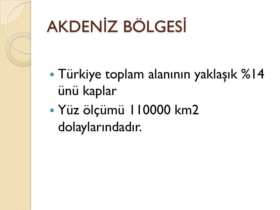 AKDENİZ BÖLGESİ Türkiye toplam alanının yaklaşık %14 ünü kaplar