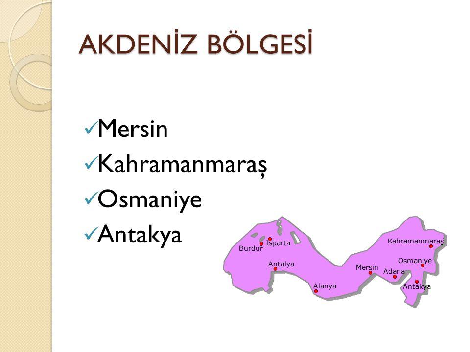 AKDENİZ BÖLGESİ Mersin Kahramanmaraş Osmaniye Antakya