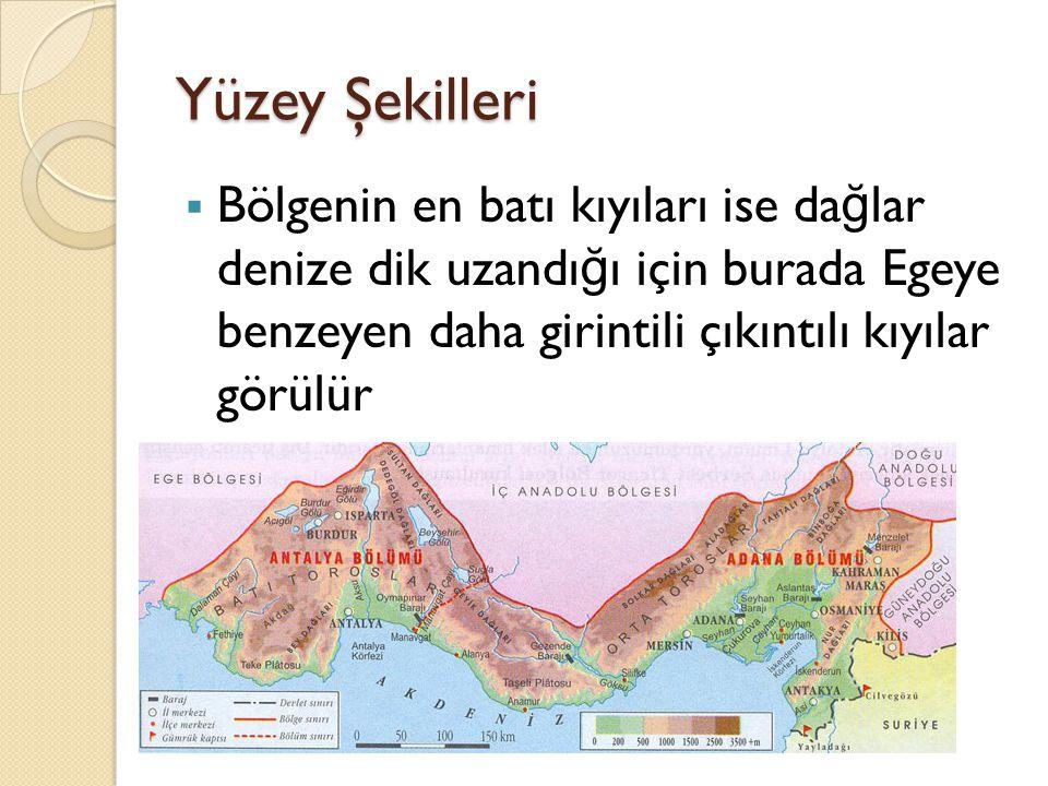 Yüzey Şekilleri Bölgenin en batı kıyıları ise dağlar denize dik uzandığı için burada Egeye benzeyen daha girintili çıkıntılı kıyılar görülür.