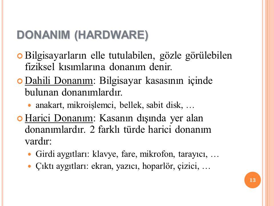 DONANIM (HARDWARE) Bilgisayarların elle tutulabilen, gözle görülebilen fiziksel kısımlarına donanım denir.