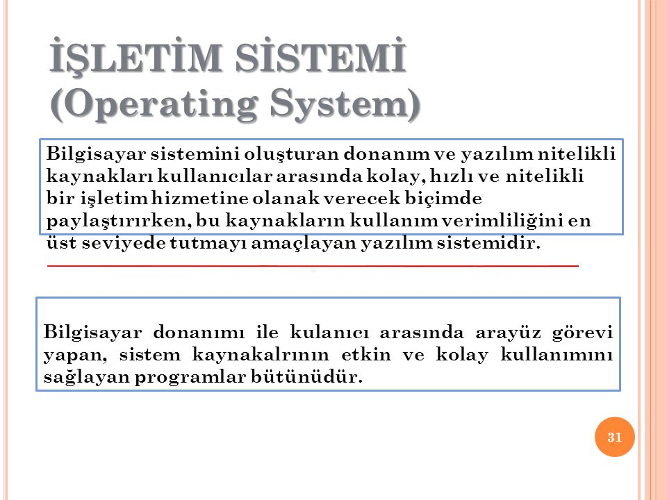 İŞLETİM SİSTEMİ (Operating System)