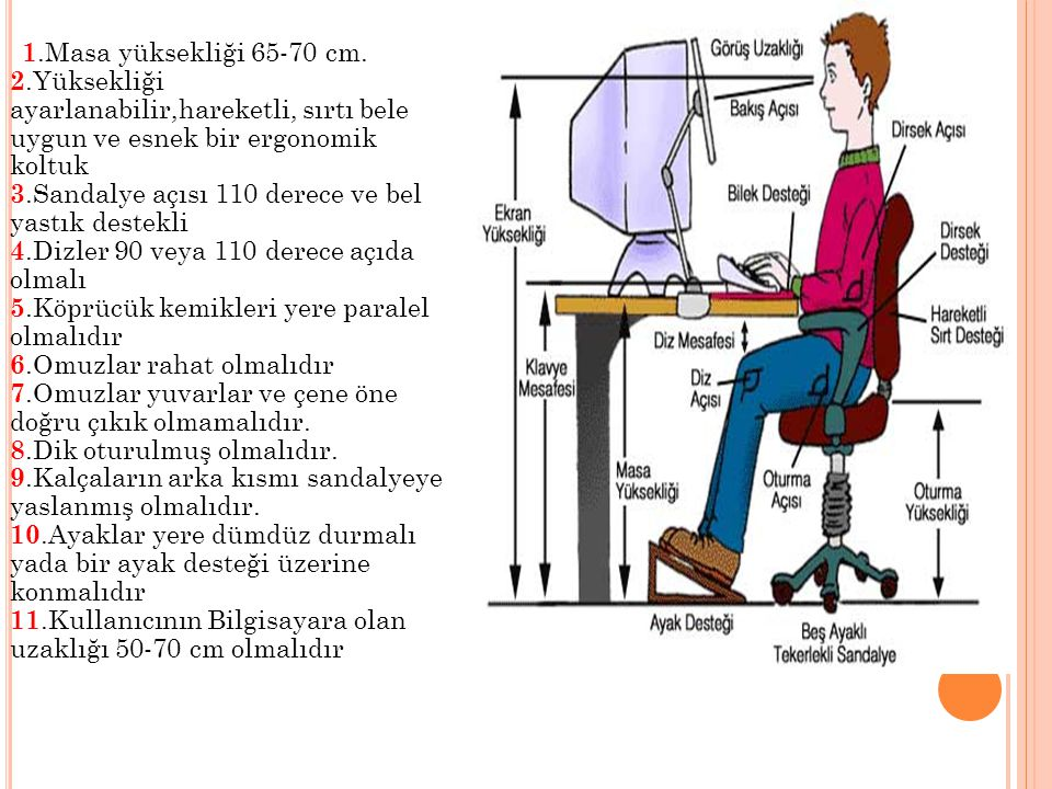1.Masa yüksekliği 65-70 cm.