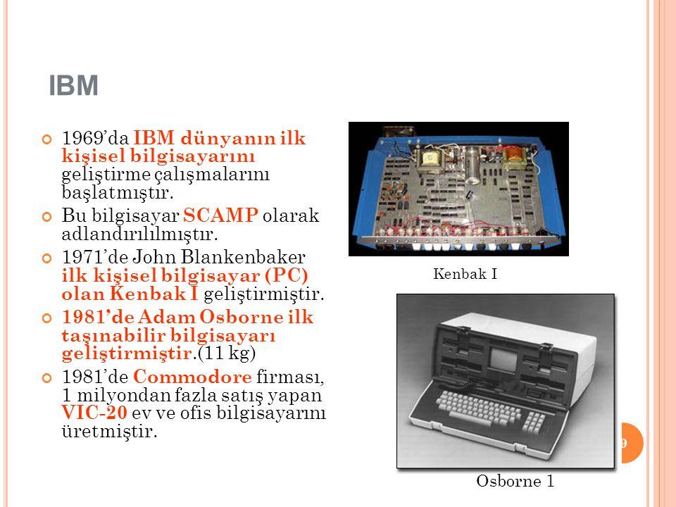 IBM 1969'da IBM dünyanın ilk kişisel bilgisayarını geliştirme çalışmalarını başlatmıştır. Bu bilgisayar SCAMP olarak adlandırılılmıştır.
