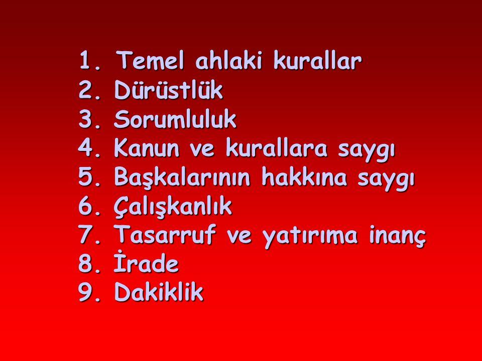 1. Temel ahlaki kurallar. 2. Dürüstlük. 3. Sorumluluk. 4