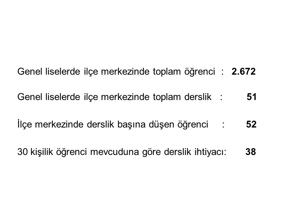 Genel liselerde ilçe merkezinde toplam öğrenci : 2.672