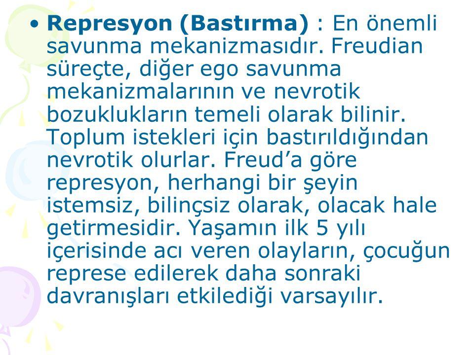 Represyon (Bastırma) : En önemli savunma mekanizmasıdır