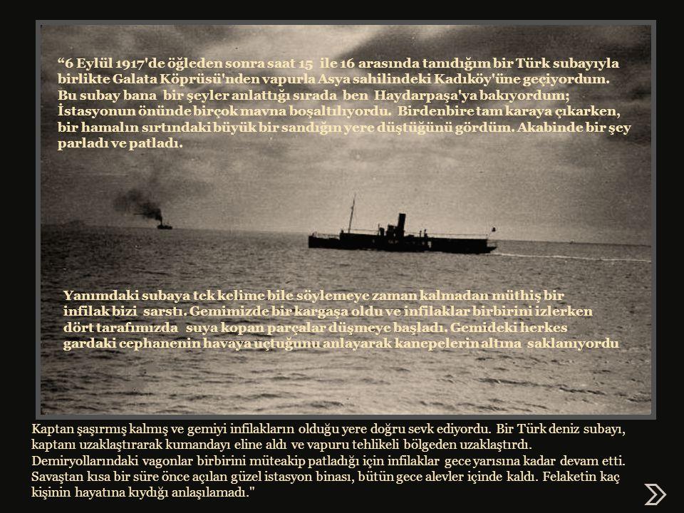 6 Eylül 1917 de öğleden sonra saat 15 ile 16 arasında tanıdığım bir Türk subayıyla