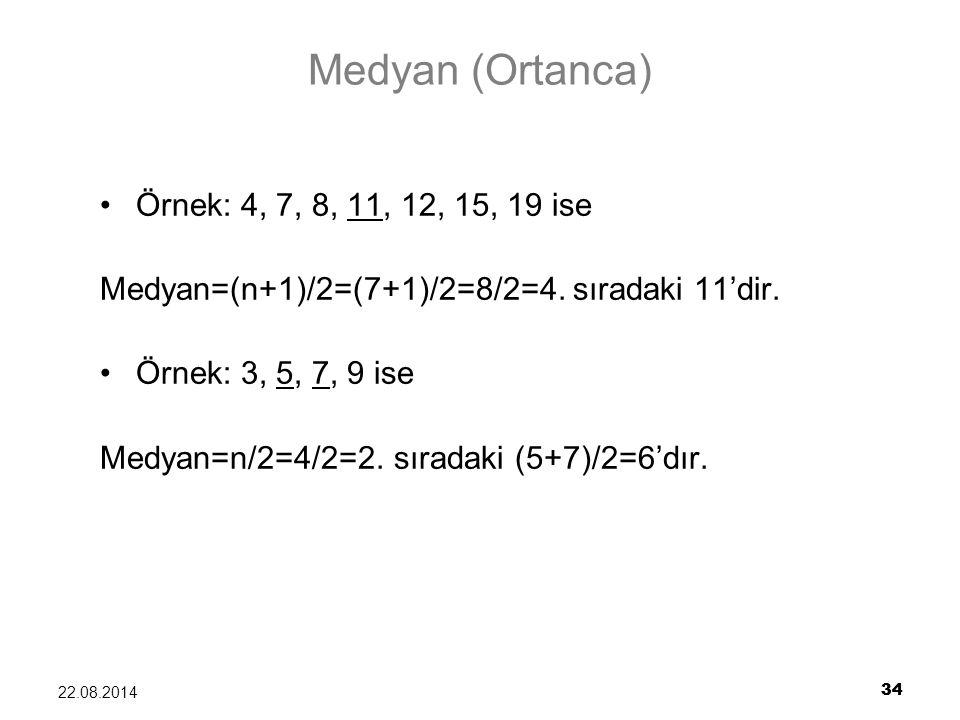 Medyan (Ortanca) Örnek: 4, 7, 8, 11, 12, 15, 19 ise
